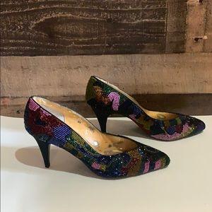 Vintage Capparos Multi Color Beaded Heels Pumps 8
